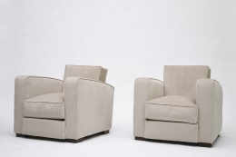Jacques Adnet pair of club armchairs