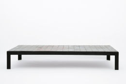 Baty's ceramic coffee table, full straight view from eye-level