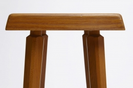 """Pierre Chapo's set of three """"S01C"""" stools, detailed view of seat at eye-level"""