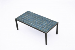 French 1960's blue ceramic coffee table diagonal view from above
