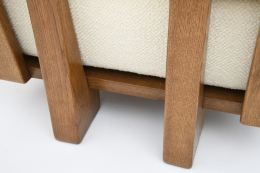 Guillerme & Chambron four seat sofa detail of upholstery and wood frame