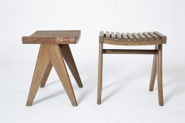 Pierre Jeanneret's pair of stools, full side and front views of both stools from eye-level