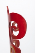 """Terence Main's """"Red Twiddler"""" chair, detailed side view of top"""