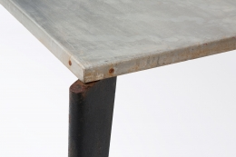Jean Prouvé's aluminum dining table, detailed view of corner and leg