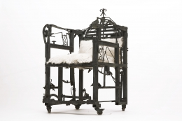 Sylvain Contini's sculptural armchair diagonal view