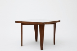 Pierre Jeanneret's square table diagonal view