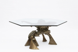 """Caroline Lee's """"La faiseuse d'amour"""" sculptural dining table view from above with glass top"""