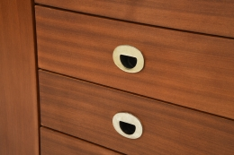 Marcel Gascoin's sideboard, detailed view of drawers with metal handle detail