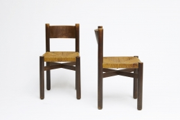 """Charlotte Perriand's set of 6 """"Meribel"""" chairs, front and side view of two from above"""