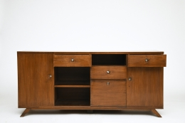 Pierre Jeanneret's sideboard, full straight view with some drawers open