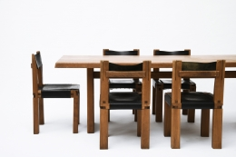 "Pierre Chapo's Set of eight ""S11E"" chairs install view of chairs with Chapo's dining table"