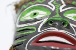 Colette Guéden's ceramic mask detailed view of left side