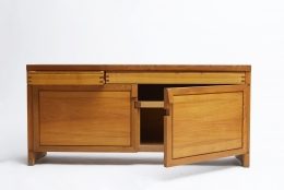 "Pierre Chapo's ""R08"" sideboard straight view with left door open and right drawer open"