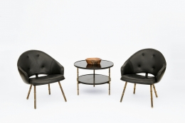 Jacques Adnet pair of armchairs and side table installation image