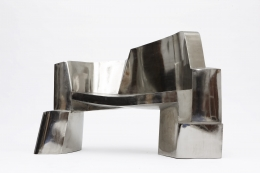 Jim Cole's sculptural bench straight eye level view