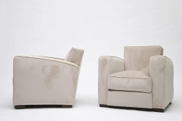Jacques Adnet pair of club armchairs side view