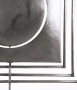 "Alain Douillard's ""Miroir aux Alouettes"" sculptural screen detailed photo of signature"