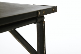 Jacques Adnet's table, detailed view of corner showing leather