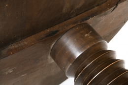 Charles Dudouyt's pedestal table, detailed view of table top joinery