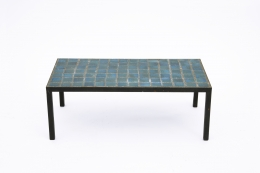French 1960's blue ceramic coffee table straight view from above