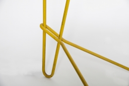 Michel Buffet's yellow floor lamp, detailed image of base