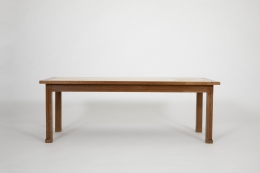 Jacques Adnet's coffee table, full straight view from eye-level