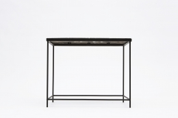 """Pierre Sabatier's """"Volvic Sang"""" table, full straight view from eye-level"""
