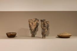 Joëlle Deroubaix's large sculpture, installation view juxtaposed with other La Borne ceramics