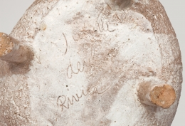 Juliette Derel's large ceramic bowl detailed view of signature on bottom