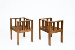 Attributed to Francis Jourdain's pair of chairs, full diagonal views