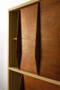 Le Corbusier's 4-door built-in closet, diagonal detailed view of doors slightly open