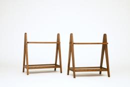 Unknown artist's pair of racks, front diagonal views