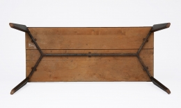Jean Prouvé's aluminum dining table, full view of underneath the table