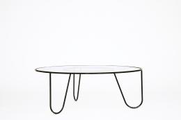 "Mathieu Mategot's ""Bellevue"" table, full view slightly turned eye-level"