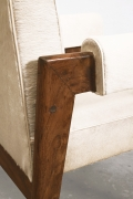 """Le Corbusier, Pierre Jeanneret & Jeet Lal Malhotra's """"Advocate and Press"""" armchairs, detailed view of arm"""