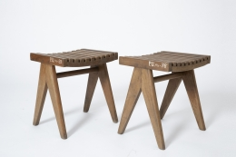 Pierre Jeanneret's pair of stools, full diagonal views of both stools