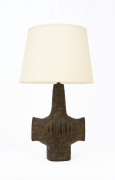 Vallauris' ceramic table lamp, full front view