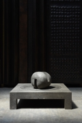 """Pierre Székely's """"Espace établi"""" sculpture, full straight from above with ball turned diagonally in a darker background"""