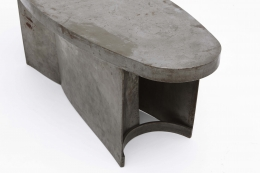 French 1970's brutalist coffee table detail view of side and top