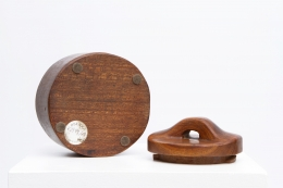 Alexandre Noll's wooden box with lid, view of underneath box with lid off