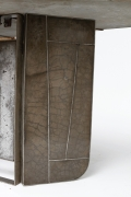 Modernist cement and iron desk, detailed view of base
