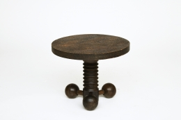 Charles Dudouyt's pedestal table, straight front view from above