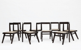 Pierre Jeanneret's set of 8 demountable chairs view of all chairs