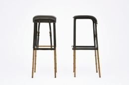 Jacques Adnet pair of bar stools front and side view