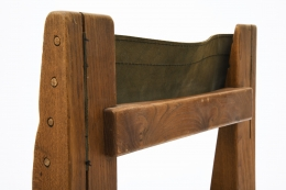 "Pierre Chapo's Set of eight ""S11E"" chairs detail view of wooden back and leather"