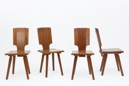 """Pierre Chapo's Set of four """"S28"""" chairs straight view of all chairs"""