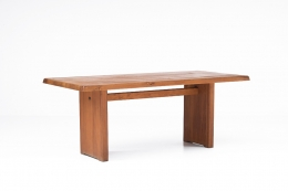 """Pierre Chapo """"T14C"""" dining table diagonal view without extensions"""