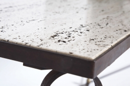 """Jean Royère's """"Ruban"""" coffee table, detailed view of table top and iron frame"""