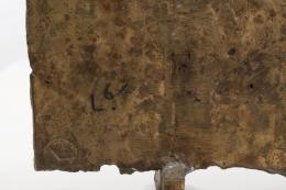 Algae Liberaki's bronze sculpture detailed view of signature on back