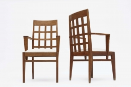 René Gabriel pair of armchairs front view front and back view